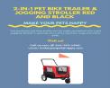 2-in-1 Pet Bike Trailer & Jogging Stroller Red and Black